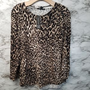 Cable and Gauge Leopard Print Sweater Blouse Sz M